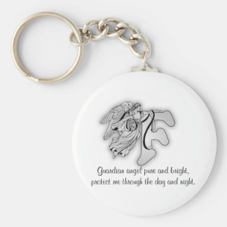 Guardian Angel Letter F Basic Round Button Key Ring