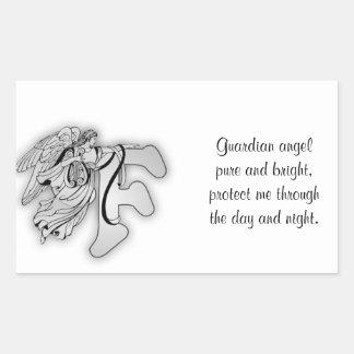 Guardian Angel Letter F Rectangular Sticker