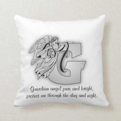 Guardian Angel Letter G Throw Pillows