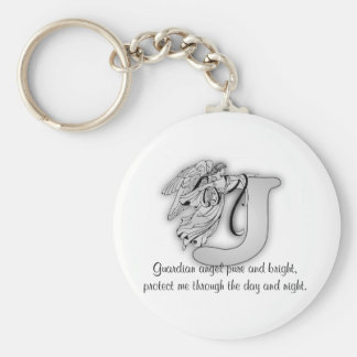 Guardian Angel Letter J Basic Round Button Key Ring