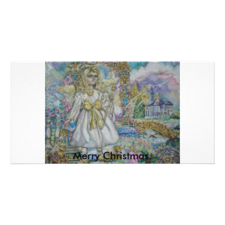 Guardian angel, Merry Christmas. Photo Greeting Card