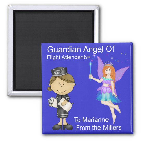 Guardian Angel of Flight Attendants by SRF Square Magnet