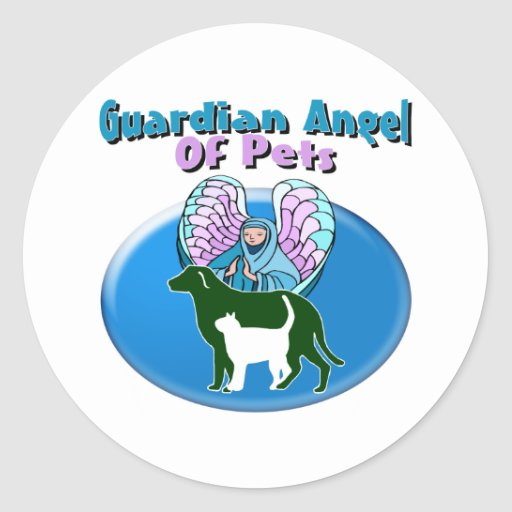 Guardian Angel Of Pets Round Stickers