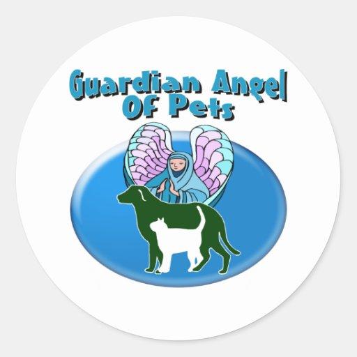 Guardian Angel Of Pets Round Sticker