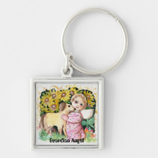 Guardian Angel Pet Silver-Colored Square Key Ring