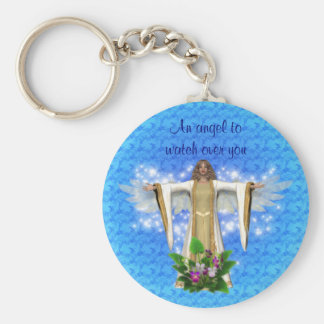 Guardian Angel Watch Over Inspirational Basic Round Button Key Ring
