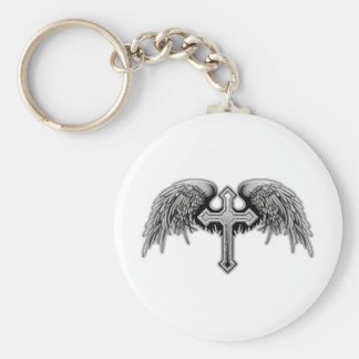 Guardian Angel Winged Cross Design Basic Round Button Key Ring