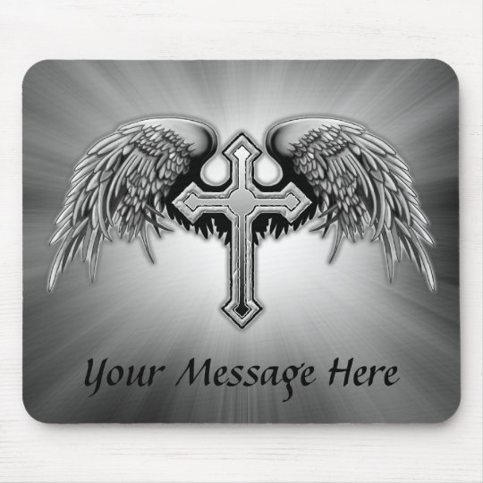 Guardian Angel Winged Cross Design Mouse Mat