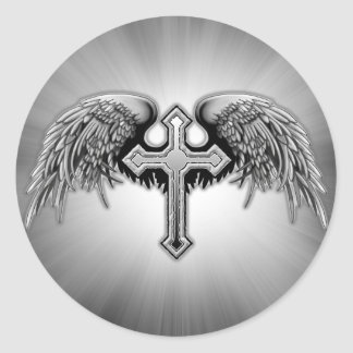 Guardian Angel Winged Cross Design Round Sticker