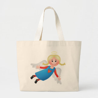 Guardian angel with blond plaits canvas bag