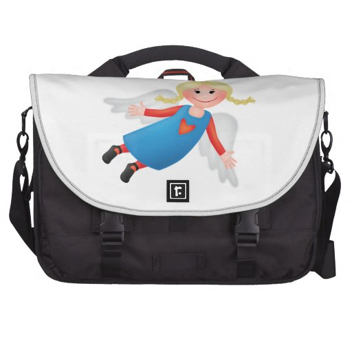 Guardian angel with blond plaits bag for laptop