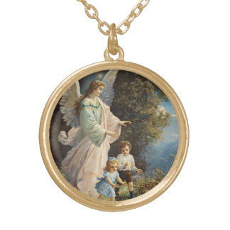 Guardian Angel with Children Round Pendant Necklace