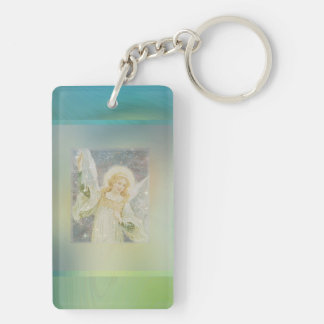 Guardian Angel with Green Border Double-Sided Rectangular Acrylic Key Ring