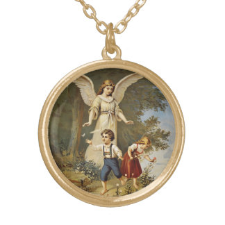 Guardian Angel with Little Children Round Pendant Necklace