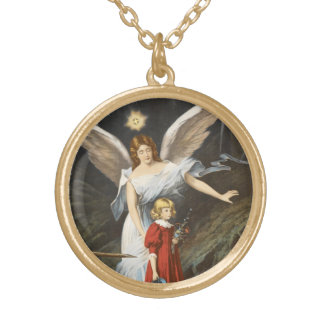 Guardian Angel with Little Girl Round Pendant Necklace
