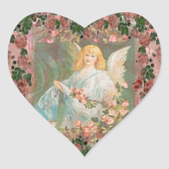 Guardian Angel with Pink Roses Heart Sticker