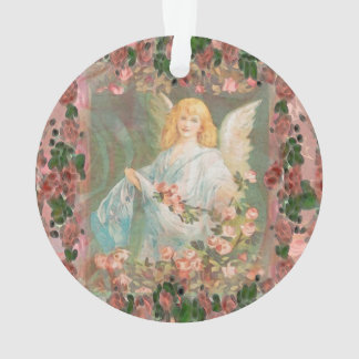 Guardian Angel with Pink Roses Ornament