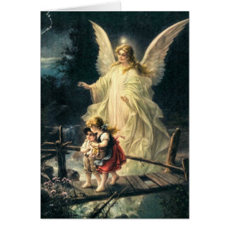 Guardian angel with two children on bridge greeting card