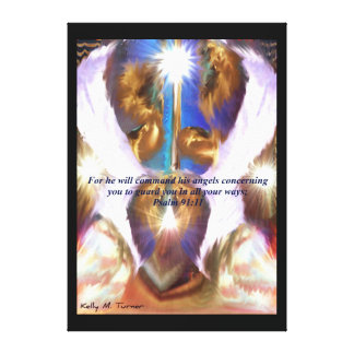 Guardian Angels Inspirational Christian Art Stretched Canvas Print