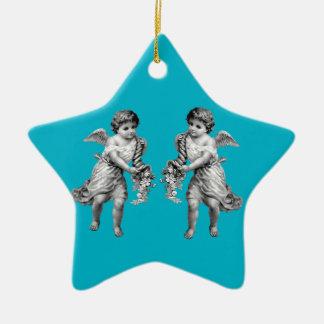 Guardian Angels with Cornucopia Ceramic Star Decoration