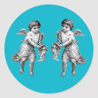 Guardian Angels with Cornucopia Classic Round Sticker