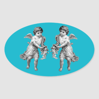Guardian Angels with Cornucopia Oval Sticker