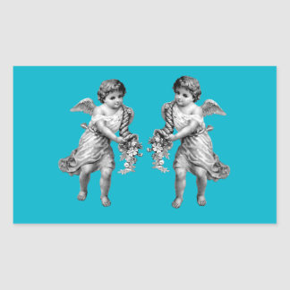 Guardian Angels with Cornucopia Rectangular Sticker