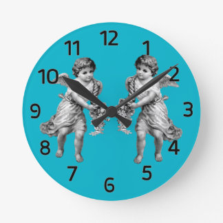 Guardian Angels with Cornucopia Round Clock