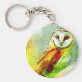 Guardian Owl Basic Round Button Key Ring