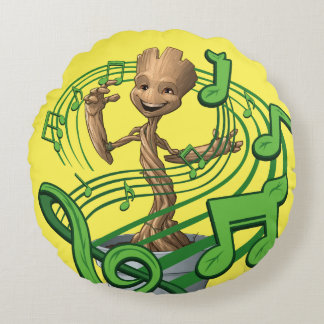 Guardians of the Galaxy | Baby Groot Music Notes Round Cushion