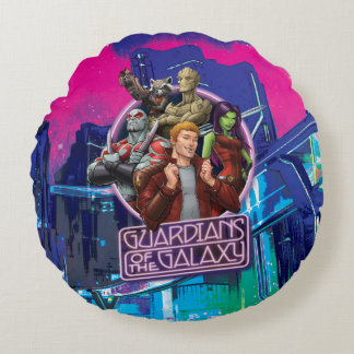 Guardians of the Galaxy | Crew Neon Sign Round Cushion