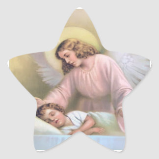 Guarding angel of children,vintage,reproduction, star sticker