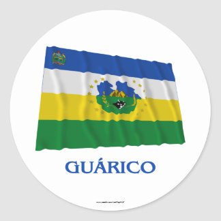 Guárico Waving Flag with Name Round Stickers