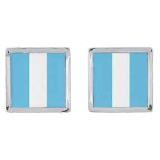 Guatemala Flag Cufflinks Silver Finish Cufflinks