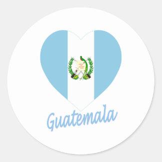 Guatemala Flag Heart Classic Round Sticker