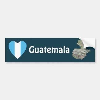 Guatemala Flag Heart + Map Bumper Sticker