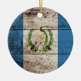 Guatemala Flag on Old Wood Grain Christmas Ornament