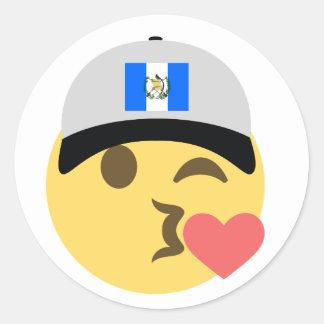 Guatemala Hat Kiss Emoji Classic Round Sticker
