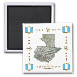 Guatemala Map + Flags Magnet
