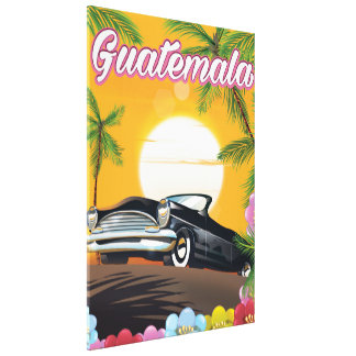 Guatemala Vintage car travel poster Canvas Print