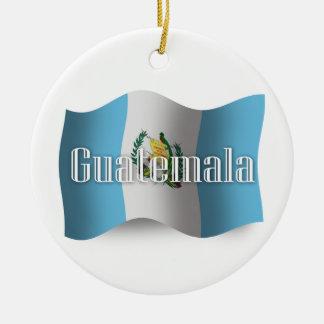 Guatemala Waving Flag Round Ceramic Decoration
