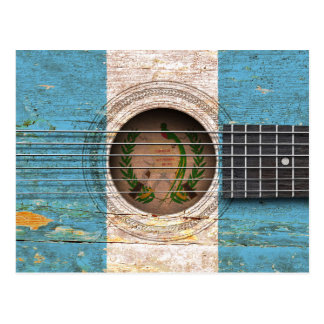 Guatemalan Flag on Old Acoustic Guitar Postcard