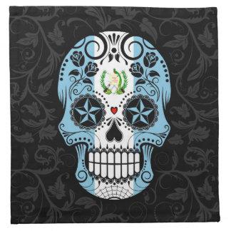 Guatemalan Flag Sugar Skull with Roses Napkin