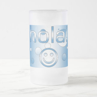 Guatemalan Gifts : Hello / Hola + Smiley Face Frosted Glass Mug