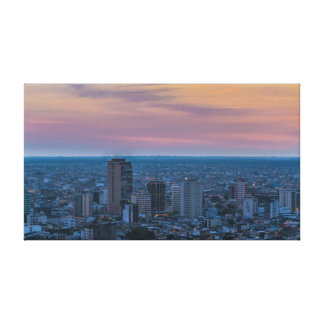Guayaquil Aerial Cityscape View Sunset Scene Canvas Print
