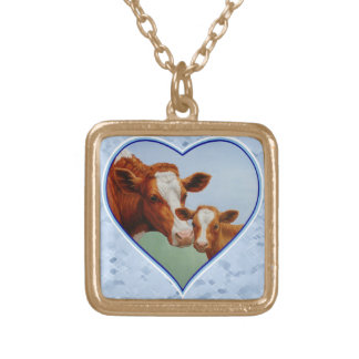 Guernsey Cow and Calf Blue Heart Gold Plated Necklace