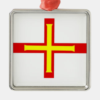 Guernsey Flag Square Metal Christmas Ornament