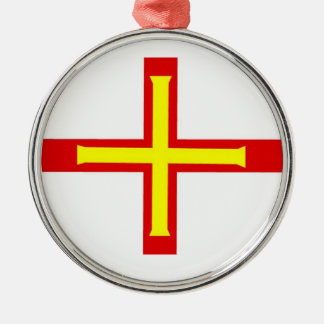 Guernsey Flag Round Metal Christmas Ornament