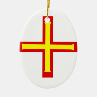 Guernsey Flag Double-Sided Oval Ceramic Christmas Ornament