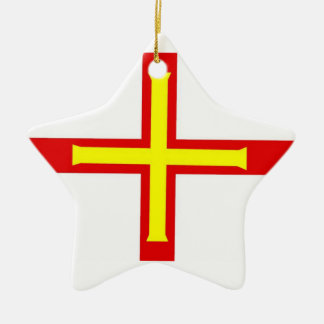 Guernsey Flag Double-Sided Star Ceramic Christmas Ornament